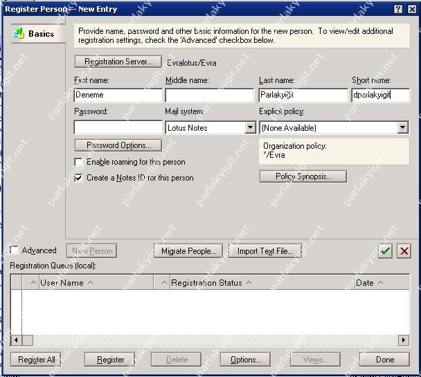 IBM Domino Server 8.5.2 Yeni Kullanıcı Oluşturma