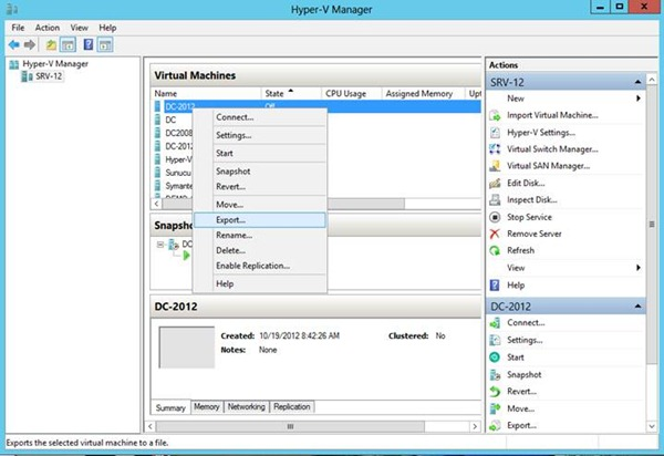 Windows Server 2012 Hyper-V Virtual Machine Export & Import