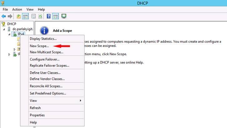 Windows Server 2012 DHCP Server New Scope