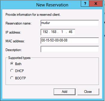 Windows Server 2012 DHCP Server IP Reservations