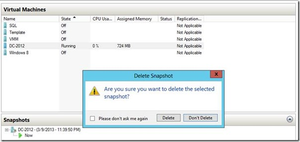 Windows Server 2012 Hyper-V Live Snapshot Merge