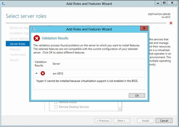 Hyper-V cannot be installed because virtualization support is not Enabled in the BIOS