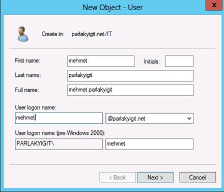 Active Directory Yeni Kullanıcı Oluşturma
