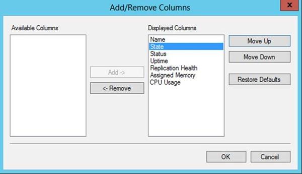 Hyper-V Add/Romove Columns Özelliği