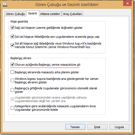 Windows 8.1 Açıldığında Direk Masaüstü Açılsın