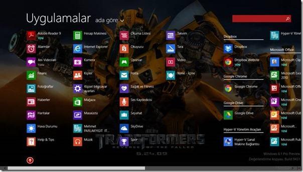 Windows 8.1 Başlangıç Ekranında Masaüstü Arka Planını Göstermek