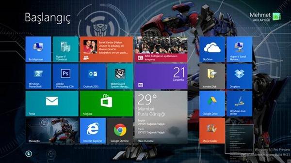 Windows 8.1 Canlı Kutuların Boyutlandırılması