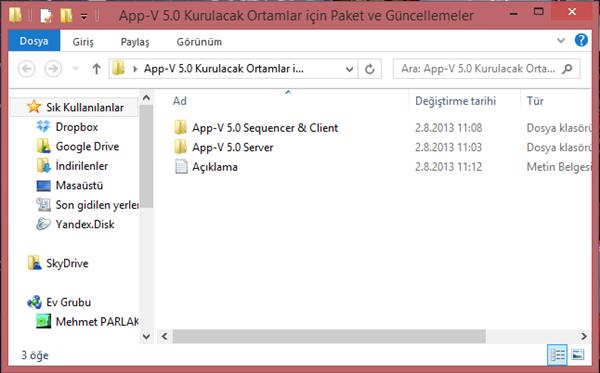 App-V 5.0 Kurulacak Ortamlar için Paket ve Güncellemeler