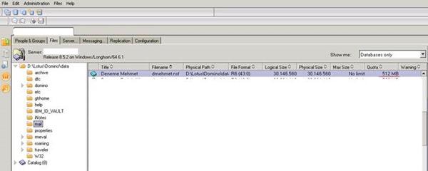 Domino Server Kullanıcı Mail Database Kotasını Arttırmak