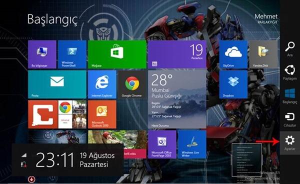 Windows 8.1 Arka Plan Rengini Değiştirme