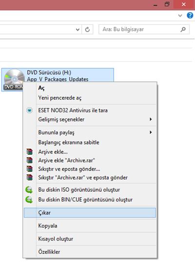 Windows 8.1 .ISO Uzantılı Dosyaların Bağlanması