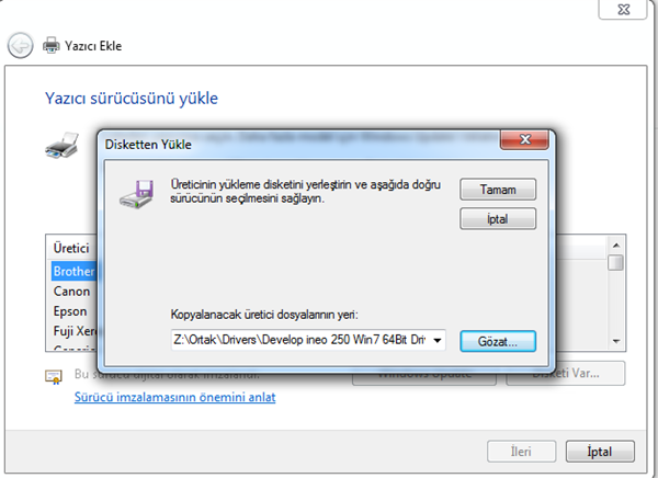 Windows 7 TCP/IP Yazıcı Ekleme