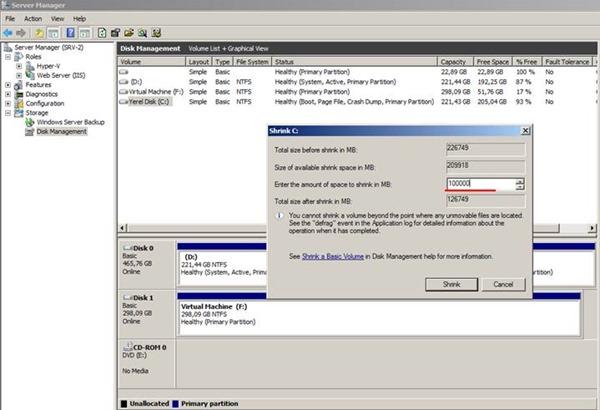 Windows 7 Shrink Volume (Disk Boyutunun Küçültülmesi) İşlemi