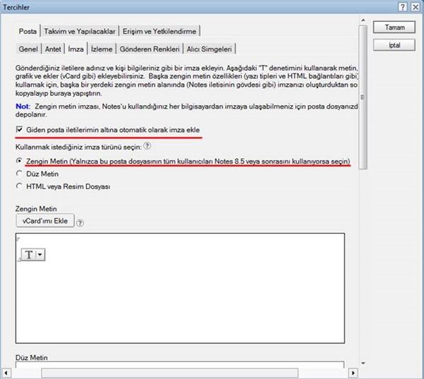 IBM Lotus Notes Üzerinde İmza Oluşturma