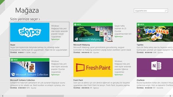Windows 8.1 Mağaza ve Uygulamalar