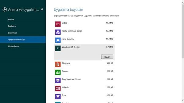 Windows 8.1 Uygulama Kaldırmak